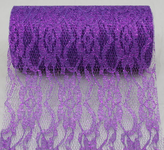"6"" Purple Sparkle Lace - 10 Yard Ribbon"